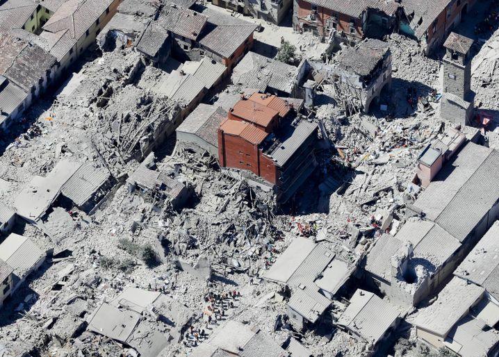 Historischer Stadtkern von Amatrice nach dem Beben