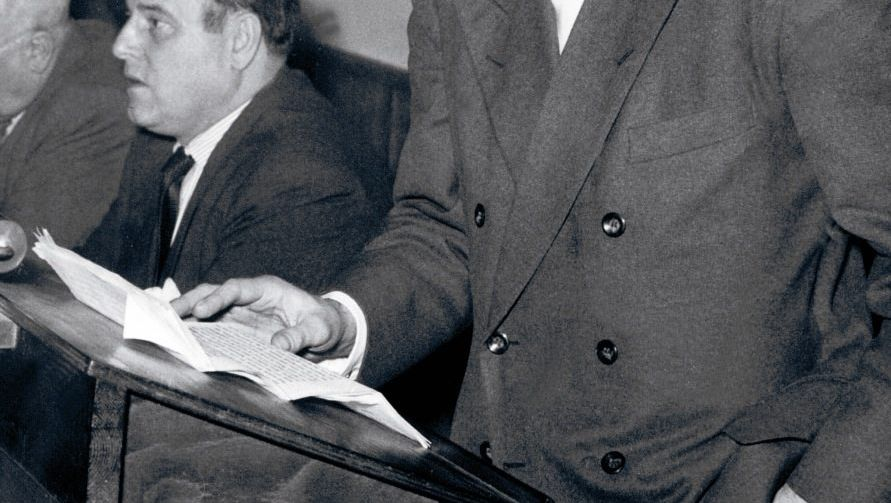 Wolfgang Harich 1955 bei einer Veranstaltung in Westberlin