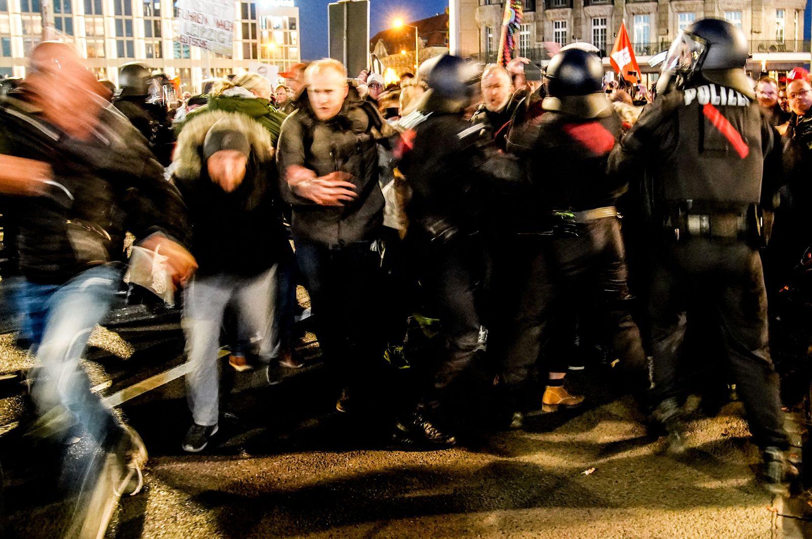 Demonstration against coronavirus restrictions in Leipzig, Germany - 07 Nov 2020