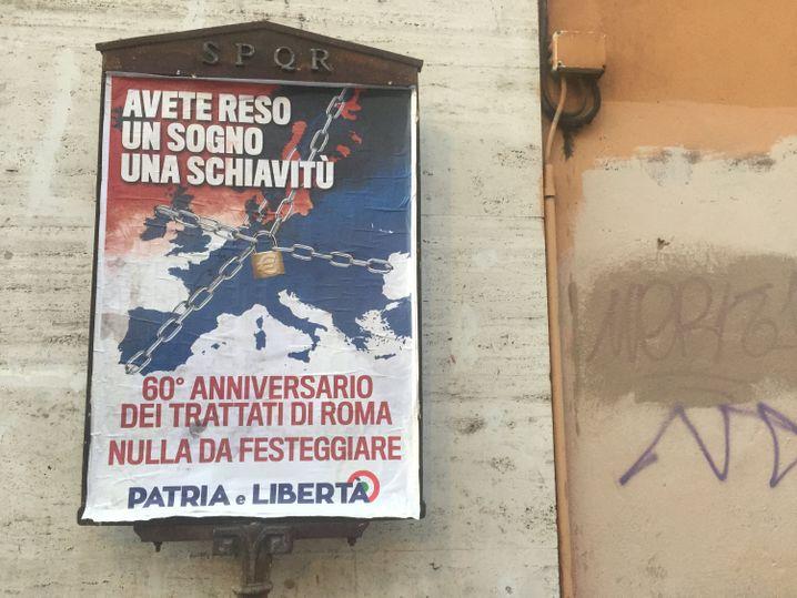 Plakat von EU-Gegnern in Rom