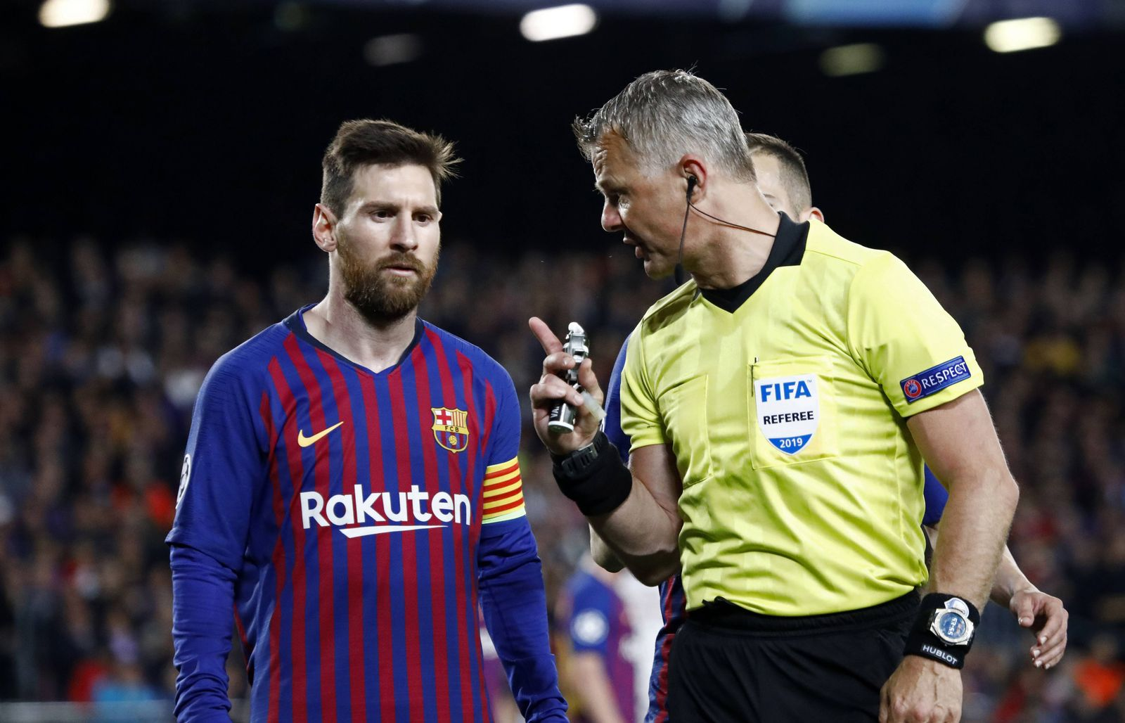 May 1 2019 Barcelona Catalonia Spain Leo Messi and the referee Bjorn Kuipers during the match