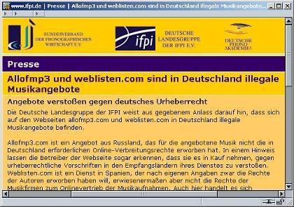 Kein Link: Die Ifpi nennt auf ihrer Seite aber die Webadresse