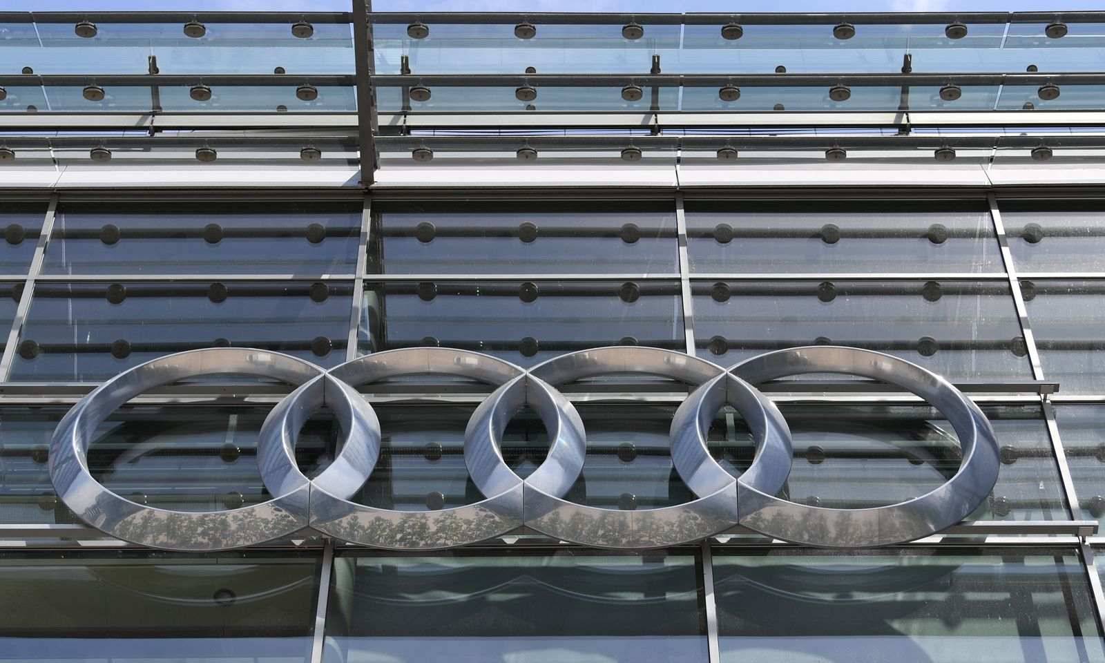 FILE PHOTO: Company logo at the headquarters of the German car manufacturer Audi