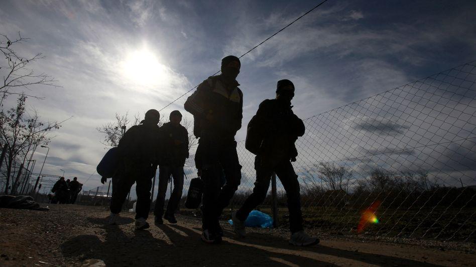 Flüchtlinge in Mazedonien, die sagen, sie wollen nach Österreich oder Deutschland