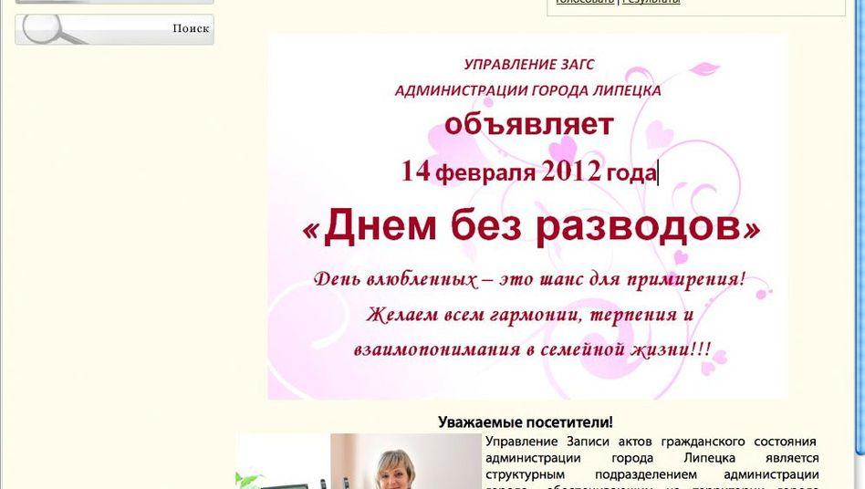 Screenshot vom Standesamt Lipetsk: Valentinstag, Tag ohne Scheidungen