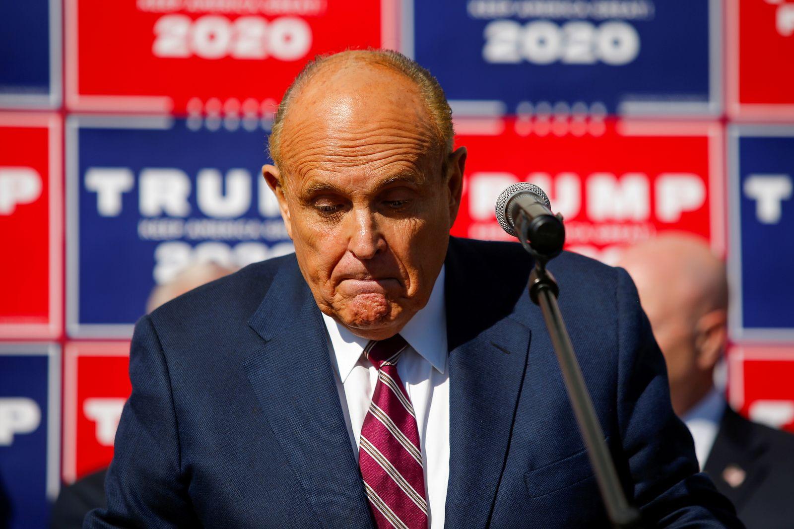 FILE PHOTO: Former New York City Mayor Rudy Giuliani, personal attorney to U.S. President Donald Trump speaks in Philadelphia