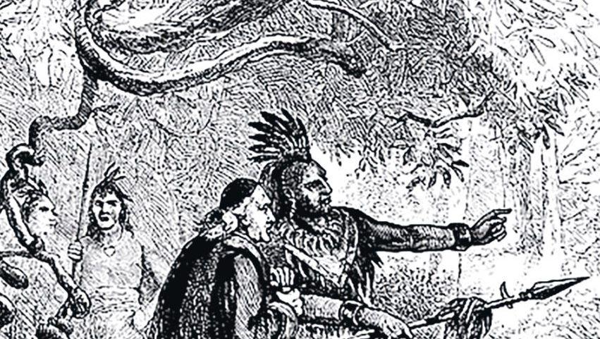 Der französische Jesuit Jacques de Lamberville missioniert um 1690 die Onondaga aus der Sprachgruppe der Irokesen südlich des Ontariosees (Illustration 1883).