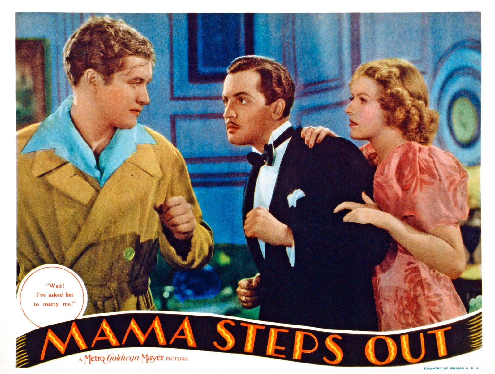 MAMA STEPS OUT, US lobbycard, from left: Dennis Morgan, Edward Norris, Betty Furness, 1937