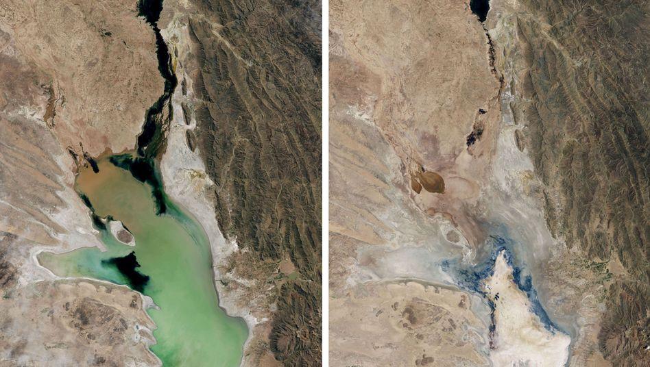 Bildvergleich: Lago Poopó im April 2013 (links) und im Januar 2016 (rechts)