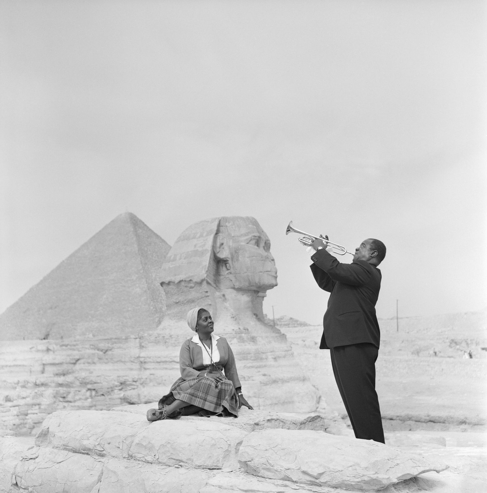 Jazz Trumpeter Louis Armstrong Playing for His Wife in Giza