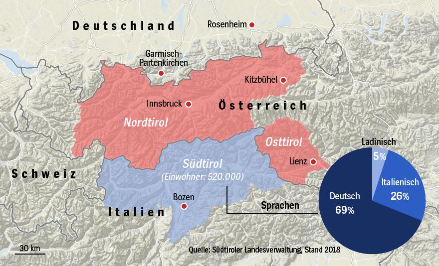 Karte Südtirol - Nordtirol - Osttirol / Sprachen Südtirol