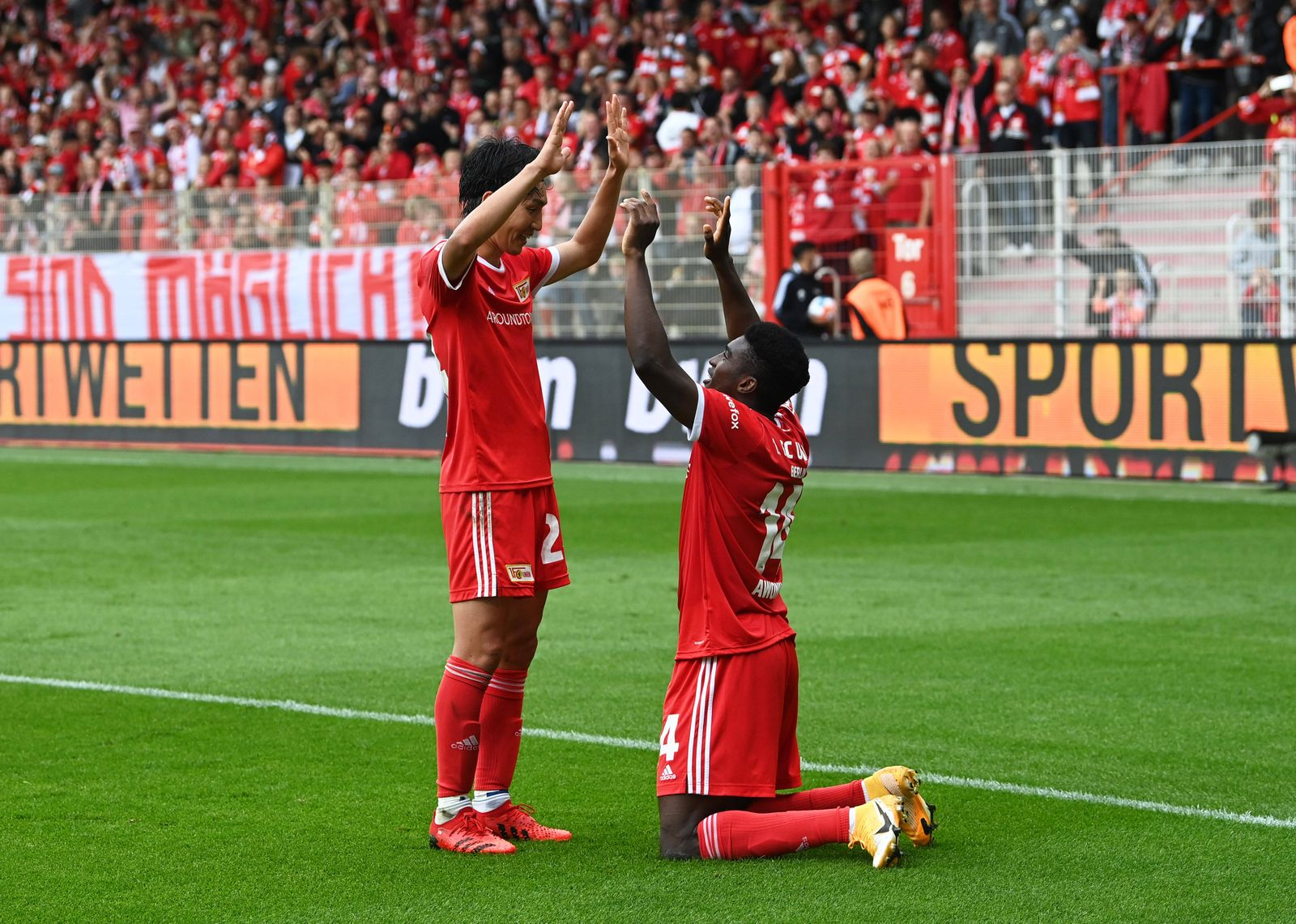 Fussball, Herren, Saison 2021/2022, 1. Bundesliga (3. Spieltag), 1. FC Union Berlin - Borussia Mönchengladbach), v. l. G
