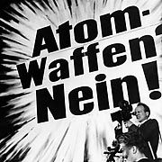 Atomic Weapons -- No! A poster protesting nuclear weapons.