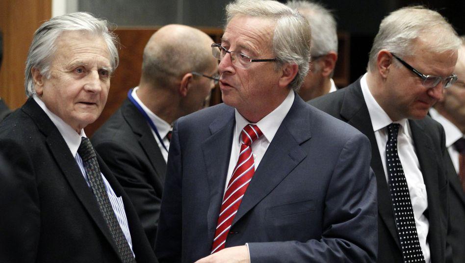 Tagung in Luxemburg: EZB-Chef Trichet, Euro-Gruppen-Chef Juncker, EU-Kommissar Rehn