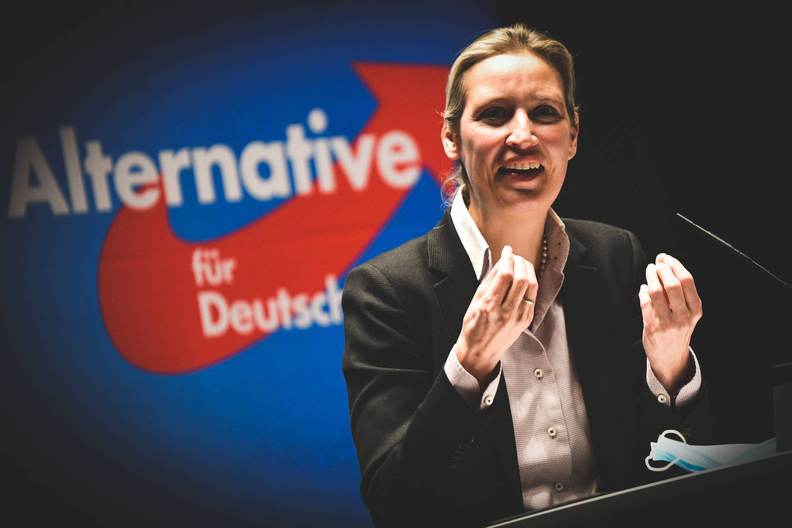 Wahlkampf AfD Alice Weidel, 24.01.2021 Baden-Württemberg, Schwäbisch Gmünd: Dr. Alice Weidel, Fraktionsvorsitzende der