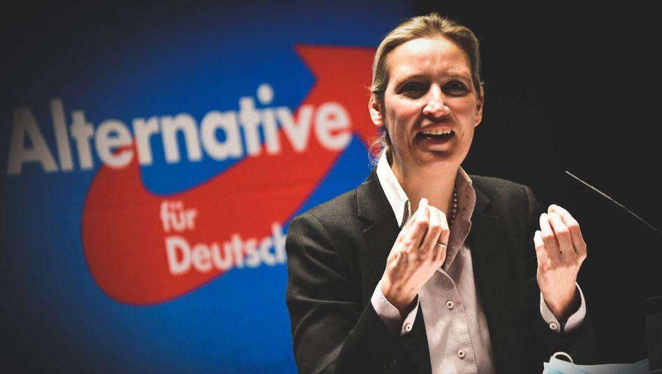 Alice Weidel bei ihrer Rede in Schwäbisch Gmünd