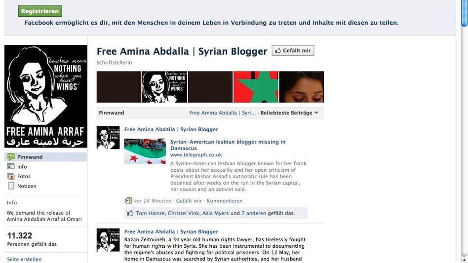 Screenshot Amina Abdallah: Syrische Bloggerin, die sich als Er erwies