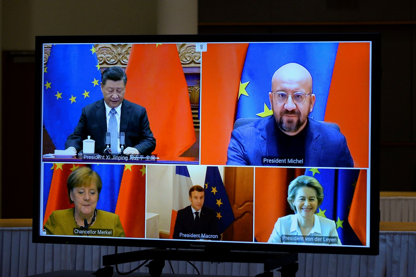 FILE PHOTO: EU Commission President von der Leyen and EU Council President Michel have a video conference with Chinese President Jinping, in Brussles