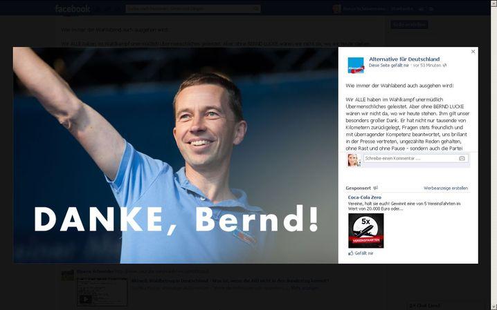 Screenshot der AfD-Facebookseite: Schließlich löschte die Partei das Bild