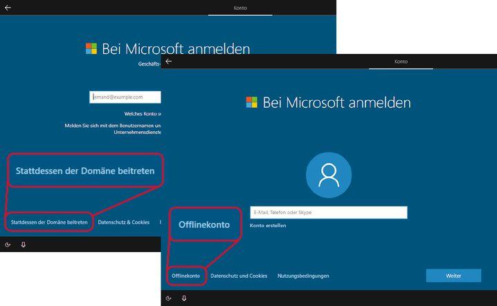 """Bislang konnte man durch Klicken auf """"Offlinekonto"""" beziehungsweise """"Stattdessen einer Domäne beitreten"""" ein herkömmliches lokales statt eines Microsoft-Kontos anlegen. Bei Home fehlt so ein Schalter nun."""