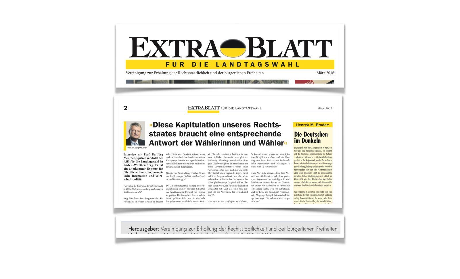 EINMALIGE VERWENDUNG NUR ALS ZITAT Jörg Meuthen/ Extrablatt/ Meuthen-LuÌge