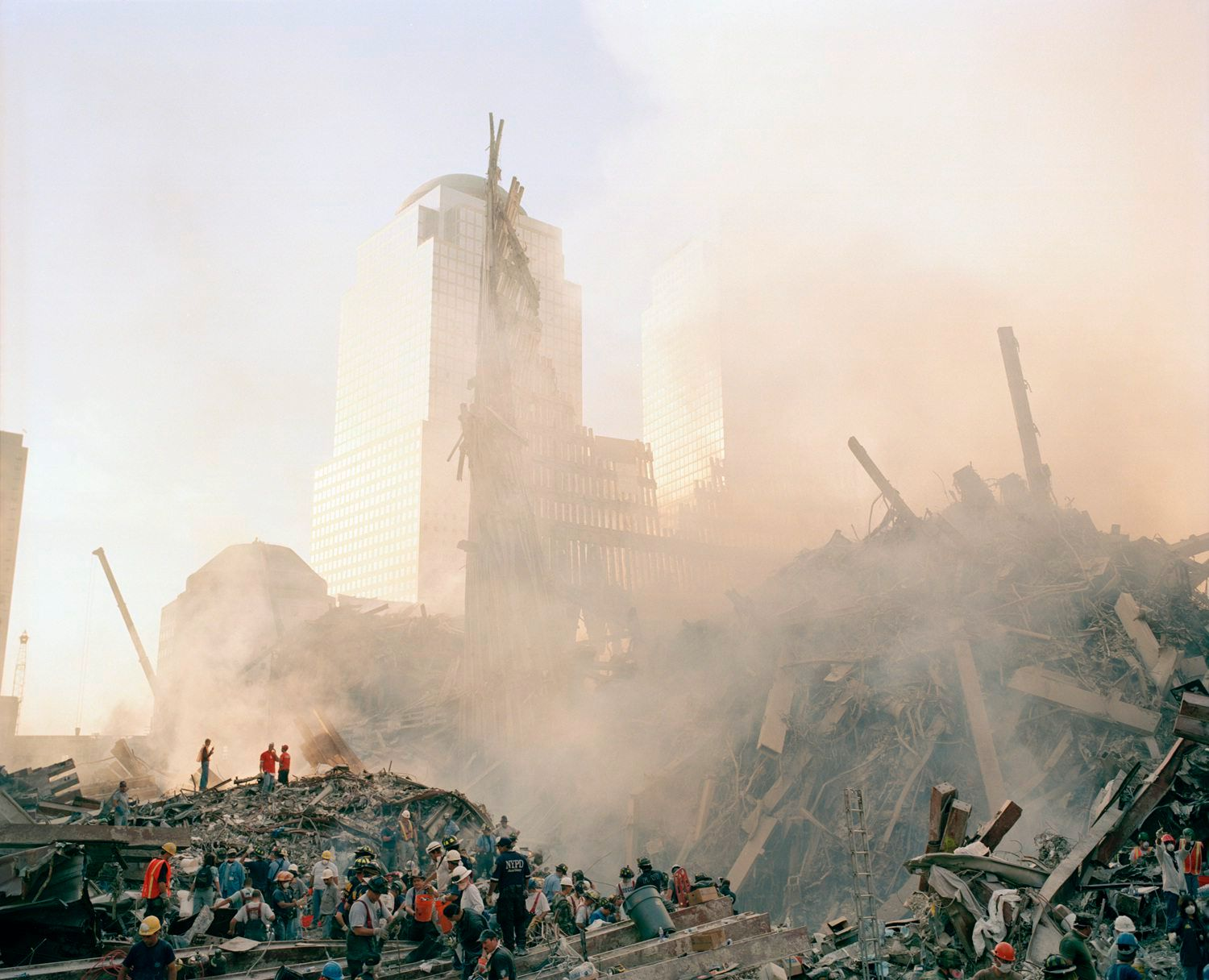collapsed southtower at sunset