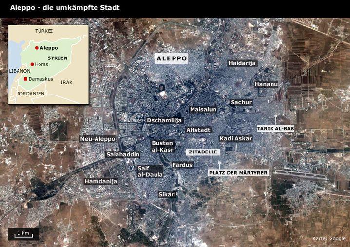 Aleppo: Karte der Stadt