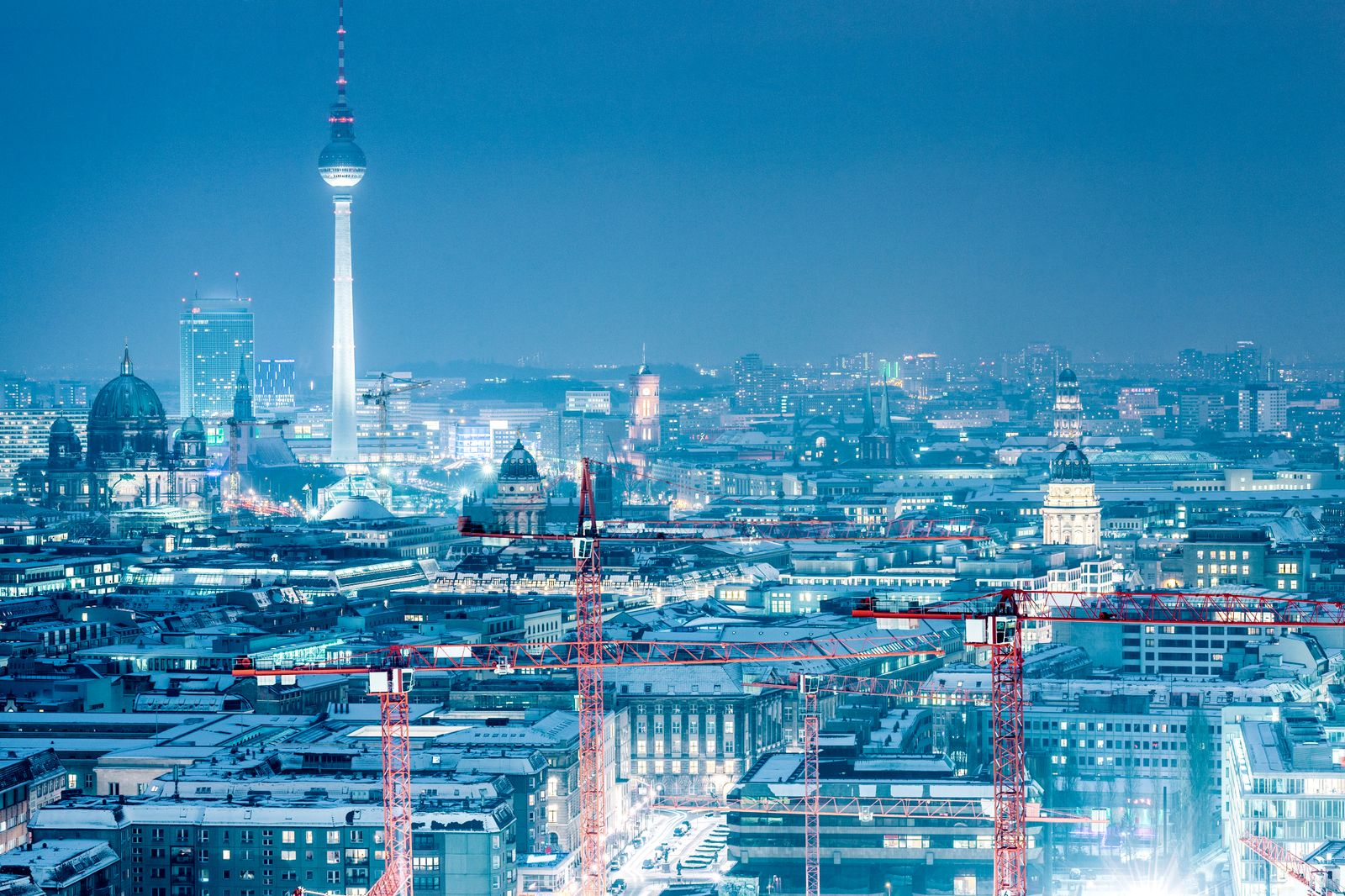 Winter cityscape and TV Tower at night, Berlin, Germany
