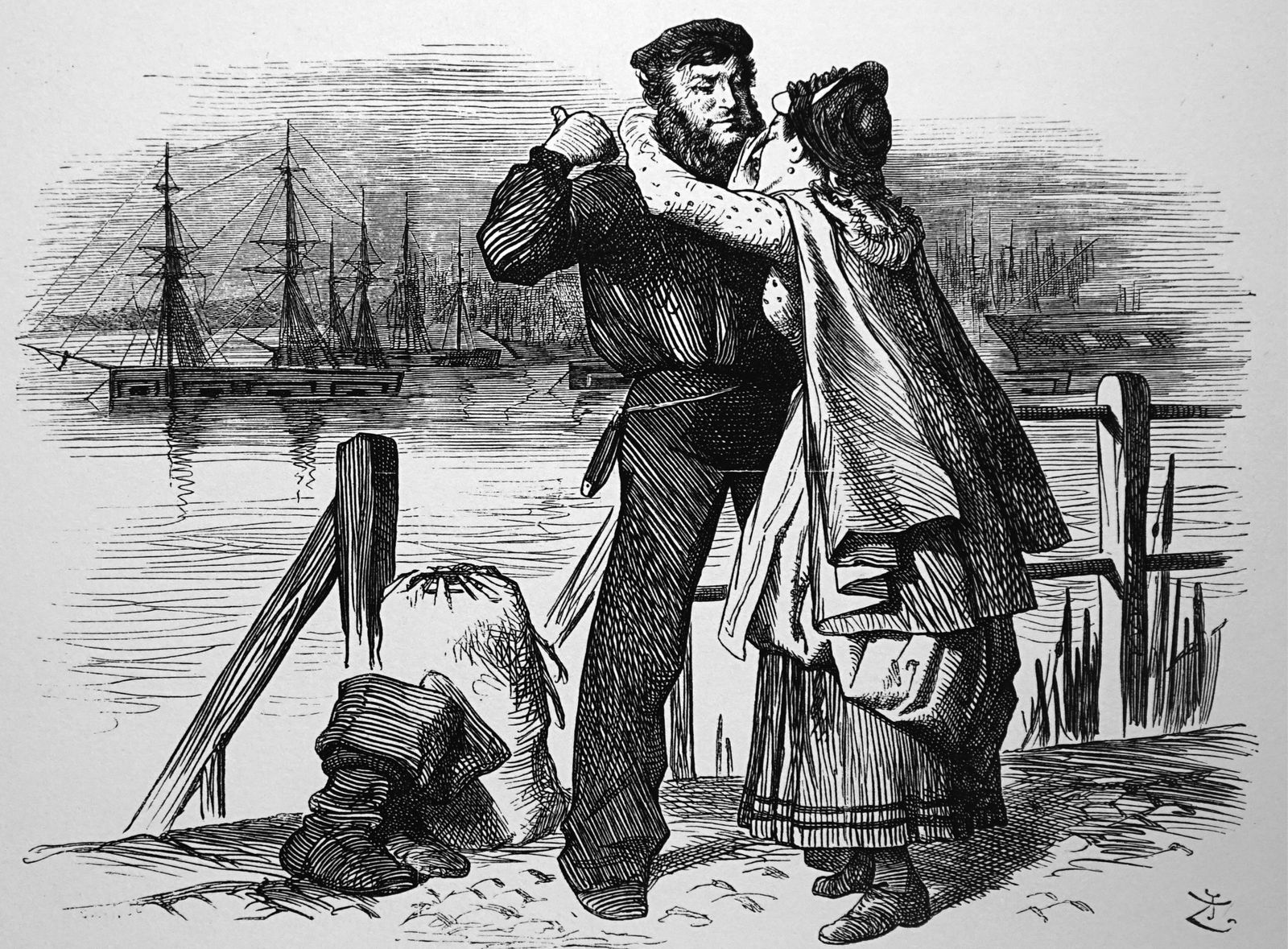 Engraving depicting Samuel Plimsoll comforting his wife Samuel Plimsoll initiated a Royal Commissio