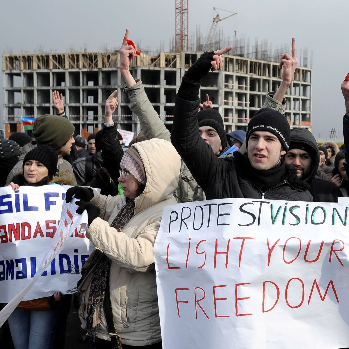 Protest In Aserbaidschan Unsere Rechte Fur Baku Der Spiegel