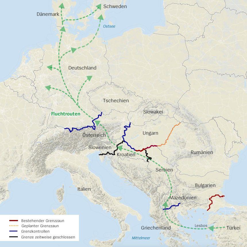 Karte Fluchtrouten durch Europa Schweden Dänemark 21.10.2015