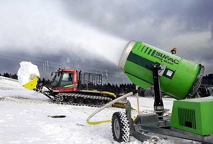 Hundreds of ski areas in Europe are investing in snow canons to extend their shrinking ski seasons.