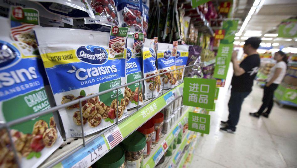 US-Import: Getrocknete Cranberrys in einem Supermarkt in Peking