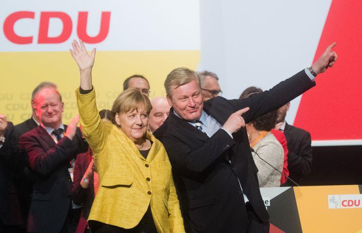 Angela Merkel, Bernd Althusmann bei Wahlkampfauftritt in Hildesheim