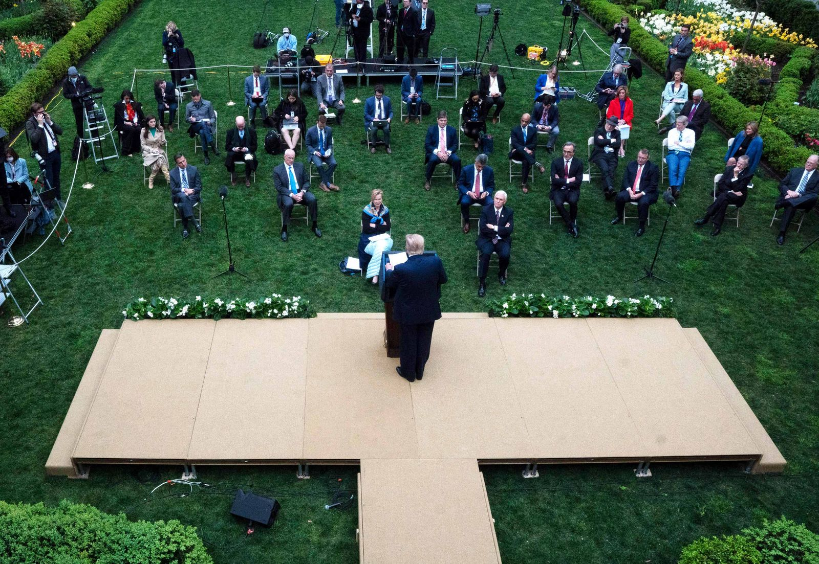 April 14, 2020, Washington, District of Columbia, USA: United States President Donald J. Trump delivers remarks during