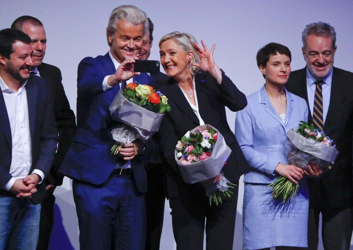Geert Wilders with Marine Le Pen and other European right-wing populists