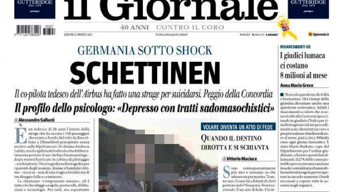 """Titelblatt von """"Il Giornale"""": """"Schlimmer als die Concordia"""""""