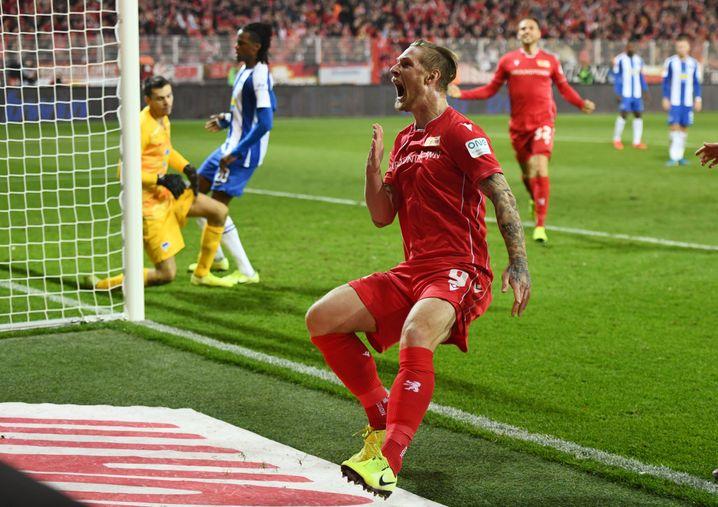 Union-Stürmer Sebastian Polter nach seinem Siegtor im Derby 2019