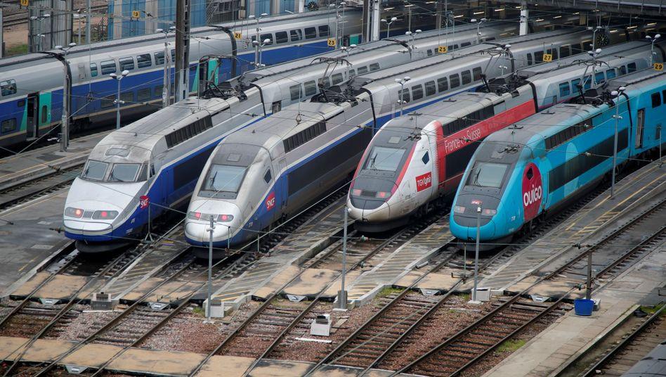 TGV-Züge im Depot bei Paris: 90 Prozent der Verbindungen wegen Streik gestrichen