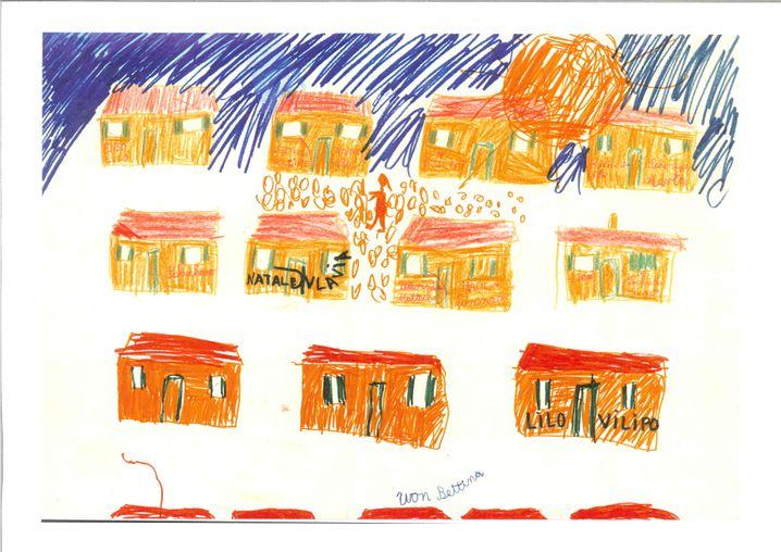 Zeichnung der Baracken in Sizilien von Bettina Röhl 1970