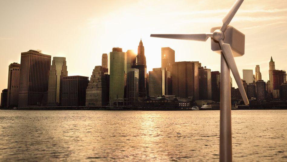 Modell einer Windturbine am New Yorker East River: Weltweiter Wandel