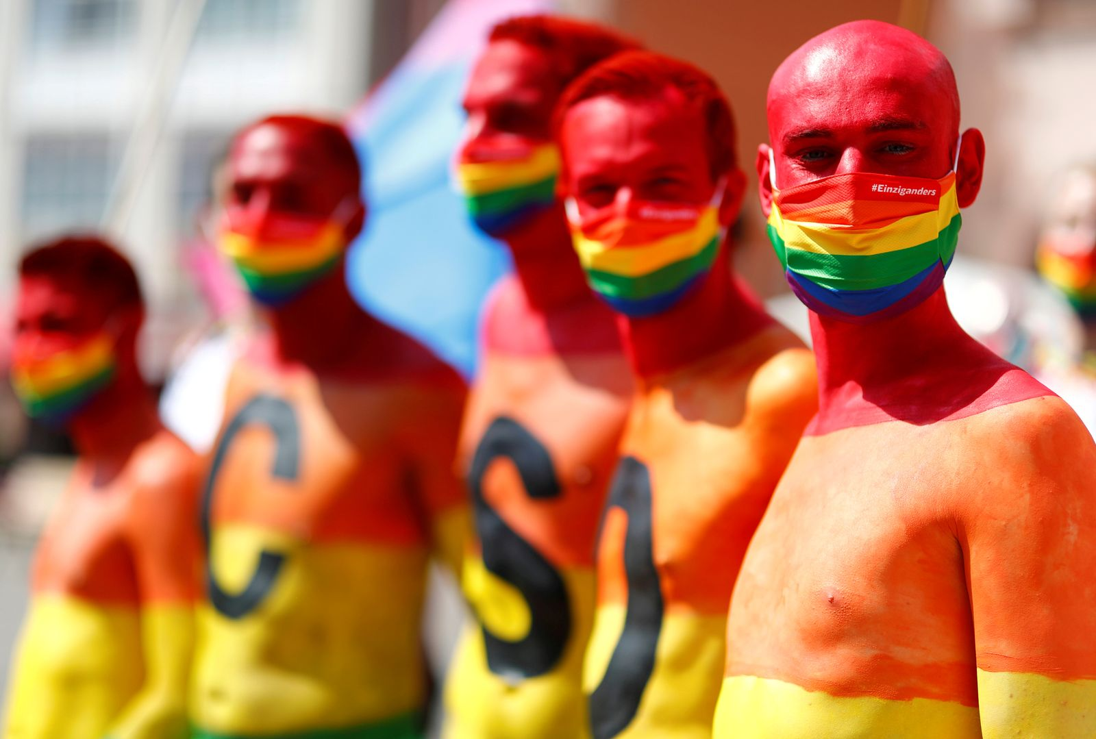 CSD parade under restrictions due to the outbreak of the coronavirus disease (COVID-19) in Frankfurt