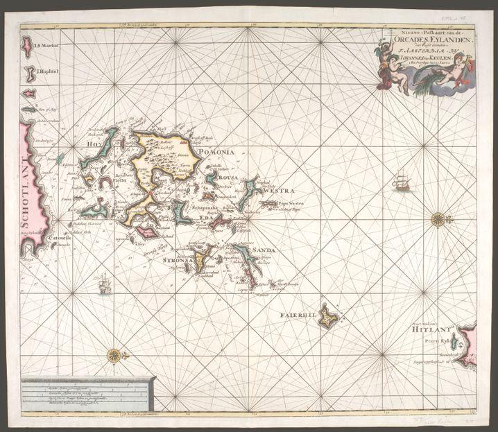 Die »Nieuwe paskaart van de Orcades Eylanden«, also die »Neue Karte« von (1695), National Library of Scotland