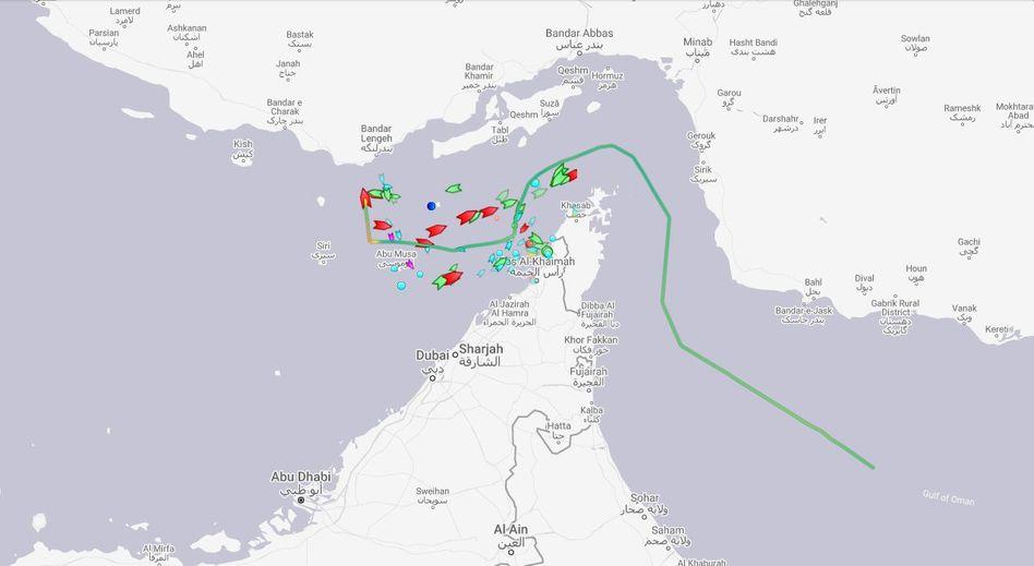 Schiffsverkehr im Screenshot der Webseite Marine Traffic
