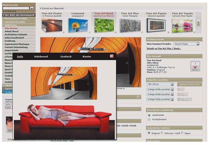 Fineartprint.de bietet zwar eine große Auswahl an Formaten, sogar mehrteilige, doch individuelle Größen muss man anfragen.