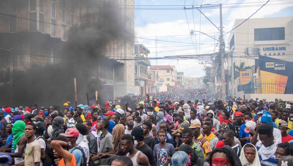 Demonstranten in der Hauptstadt Port-au-Prince