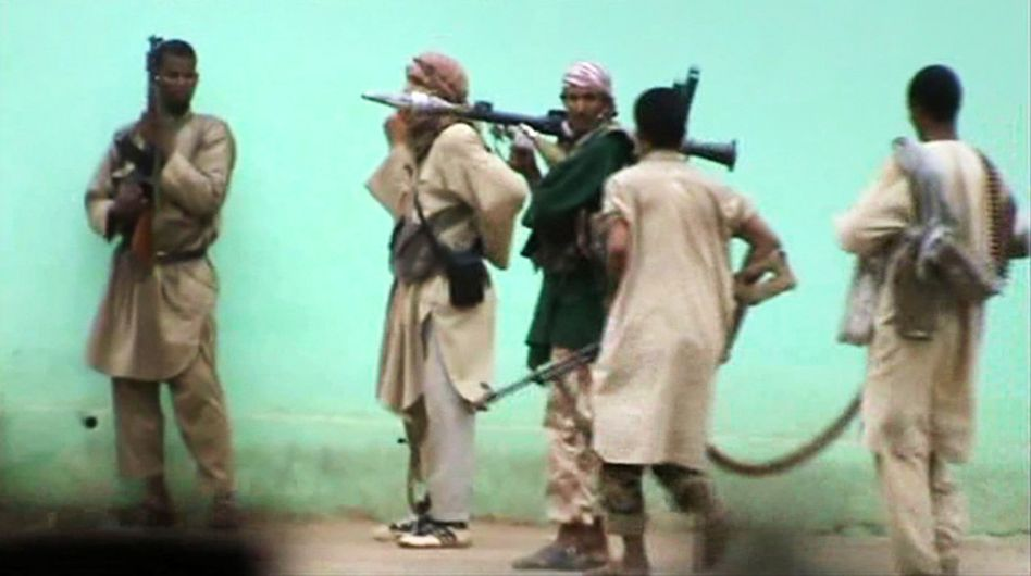 A still from a video showing Islamists patrolling the streets of Gao.