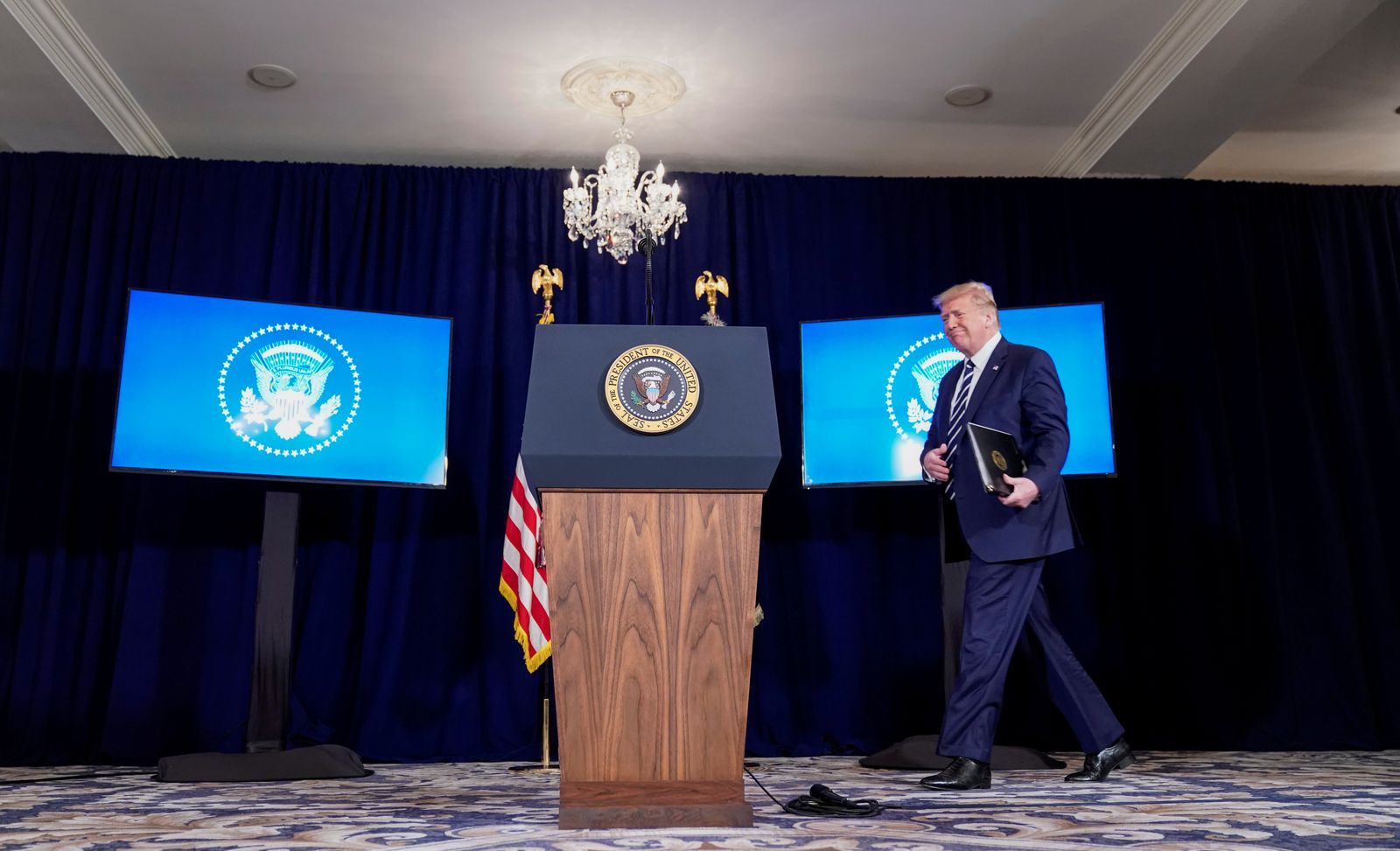 U.S. President Trump holds a news conference at his golf resort in Bedminster, New Jersey
