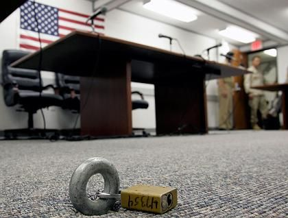 The Administrative Review Board room has eye bolts for securing detainees at Guantanamo Bay, Cuba.