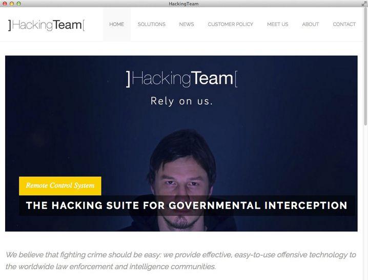 Screenshot der ehemaligen Hacking-Team-Website, auf der die Software zum Einsatz durch Regierungen beworben wurde